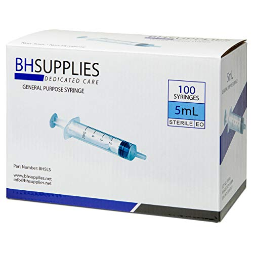 5ml Syringe Sterile with Luer Slip Tip, BH SUPPLIES - (No Needle) Individually Sealed - 100 Syringes