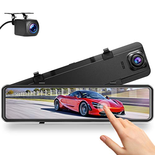 "Campark 2.5K Mirror Dash Cam for Cars 12"" GPS Voice Control Front and Rear Dual Dash Camera Touch Screen Car Backup Camera with Parking Assistance Night Vision"