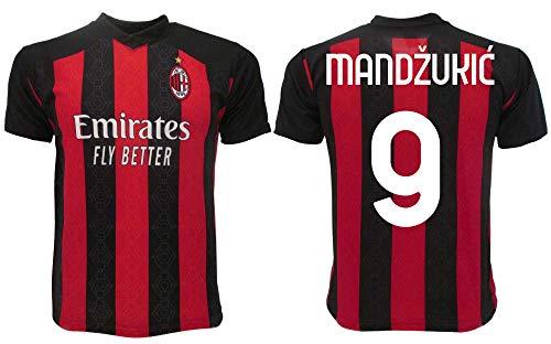 Maglia Mandzukic Milan 2021 Ufficiale 2020-2021 Adulto Ragazzo Bambino Mario 9 (M Adulto)