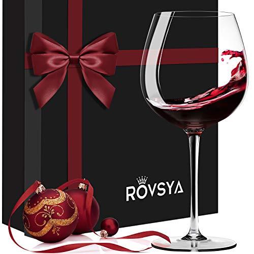 Rotweingläser-Set, mundgeblasene größere Kristallweingläser, 600 ml, 100 % bleifreies Titan-Kristall, leicht, dünner, klarste Verpackung, ideal für Hochzeit, Weinverkostung, Jahrestag