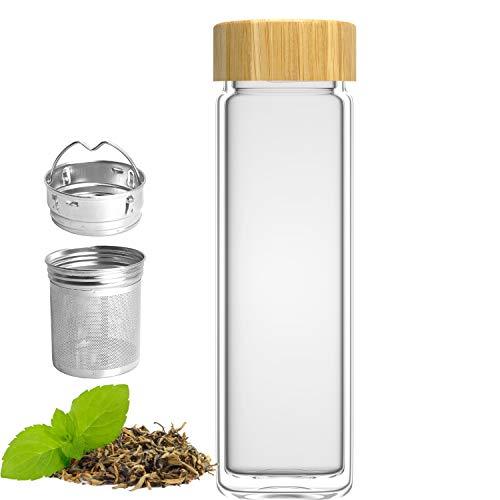 amapodo szklana butelka do picia z podwójnymi ściankami, do herbaty z sitkiem 400 ml, butelka na wodę, z wkładem na owoce i bambusową pokrywką