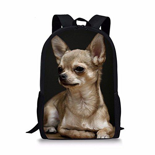 3D Backpack, School Bag For Boys Girls Lightweight Book Bags Kids Backpacks Animal Chihuahua Dog Print