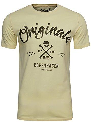 JACK & JONES Camiseta para hombre JORTraffic Tee SS Crew Neck Logo Print Amarillo (Anise Flower - Slim Fit). S