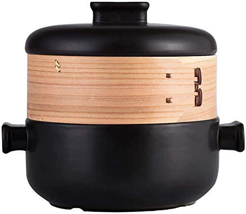 MJMJ Casserole Plat à Casserole à Vapeur à Deux étages, Pot De Soupe Résistant à La Chaleur à Flamme Ouverte, Pot De Ragoût Domestique 2.5L Café en Céramique Une cocotte(Color:Noir,Size:2.5 Litre)