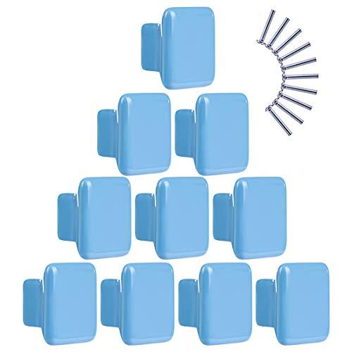 Batop 10Pcs Möbelknöpfe Kinderzimmer, Quadratisch Blau Kinder Möbelgriff Möbelknöpfe Schrankgriffe Türknöpfe Schrankknöpfe Griff Knopf, 35x35x22mm