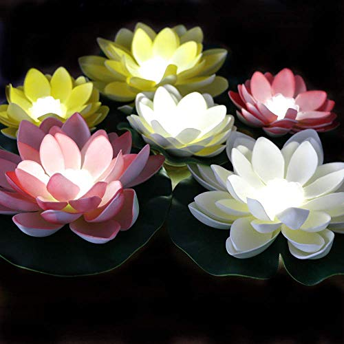 LACGO LED Waterproof Floating Lotus Light, Battery Operated Lily Flower White Light, Flower Night Lamp, Pool Garden Fish Tank Wedding Decor(Pack of 6)+(2 Big Size Leaves 11'')