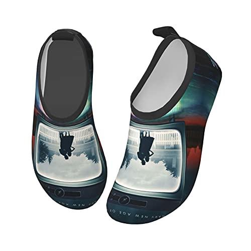 Wan_Da Poster Vi_Sion - Calzado acuático para niños de secado rápido para playa, natación al aire libre, Black, 23 EU