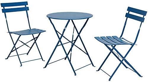 Aoboco Grand Patio ガーデンテーブル 3点セット折り畳み式テーブルと椅子、高級鋼レジャーベランダ テーブルセット、室外用テーブルテーブルチェアセット (孔雀の青)