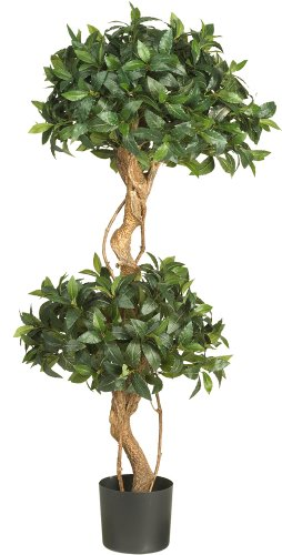 Nearly Natural 5233 Sweet Bay Double Ball Topiary Silk Tree, 4-Feet, Green