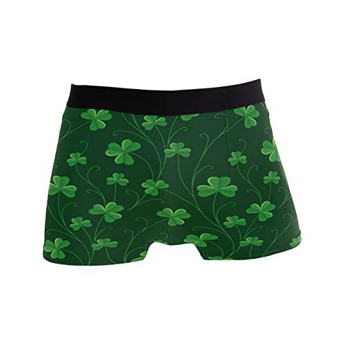 ZZKKO St Patrick's Day Shamrock Mens Boxer Briefs Underwear Breathable Stretch Boxer Trunk with Pouch L
