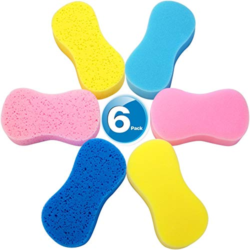 Car Wash Sponges , Multi-Use Cleaning Sponges,Easy grip sponge, large sponges for washing cars, Bone Design Cleaning Polishing Foam for Dishes Washing, Vehicle, Bathroom and Kitchen Cleaning, 6Pcs