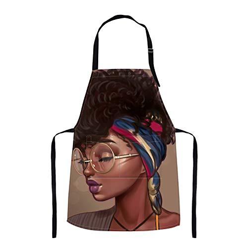 Britimes Apron Home Kitchen Waterproof Cooking Baking Gardening for Women Men with Pockets African American Girl Black Art 32x28 inch