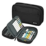 LIHIT LAB Zipper Pen Case, 7.9 × 2 × 4.7 Inches, Jet Black...