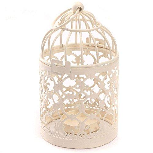 LAAT Bougeoir Lanternes Cage à Oiseaux Forme en Métal Tealight Fer Évider Créatif Bougeoir Romantique Lanterne Suspendue pour la Maison Décoration Artisanat de Fête de Mariage