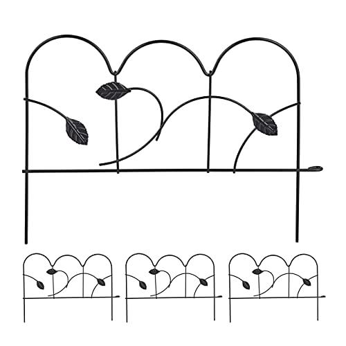 Relaxdays Beeteinfassung zum Stecken, 4 Zaunelemente, HxB: 28,5 x 39 cm, Metall, Beetzaun für Garten, Vintage, schwarz