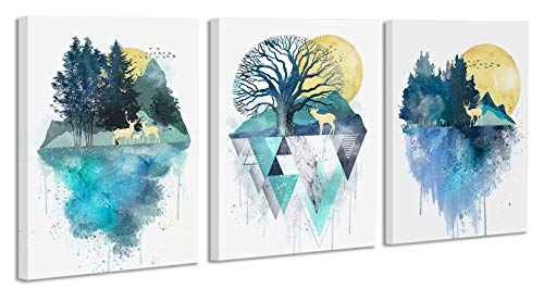 Watercolor Wall Art Painting, Sunset Sunrise Forest Lanscape Canvas Prints Picture, Abstract Geometric Mountains Artwork,Deers Painting Murals for Home Wall Decor 12x16inch