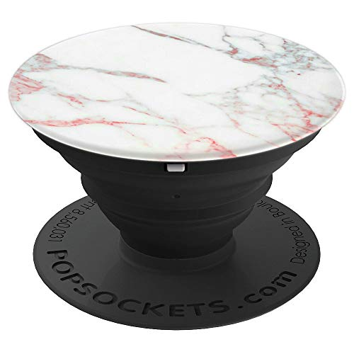 Marble White Rose Gold Pink Blue Cute Design PopSockets Grip and Stand for Phones and Tablets