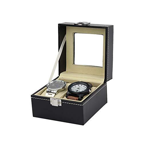 Soporte para reloj de piel sintética duradera con compartimentos para ventana transparente con tapa, almohadillas extraíbles para hombres o mujeres
