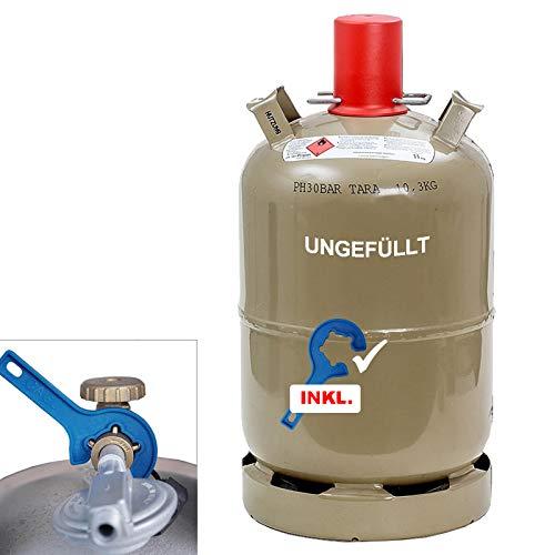11 kg Camping Gas-Flasche Neu Propangas Grill Gaskocher Heizer INKL. CAGO Gasregler-Schlüssel