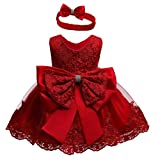 Baby Girls Christmas Pageant Lace Dresses Infant Easter Halloween Wedding Formal Event Dress (Red,24M)