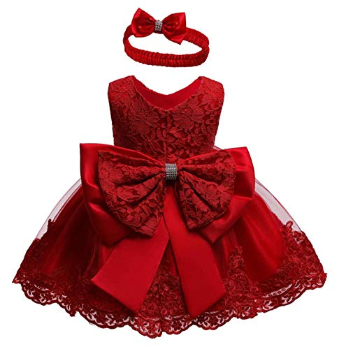 Flower Girls Dresses for Baby First Baptism Toddler Hallowmas Birthday Party Ball Gown Dress (Red,18M)
