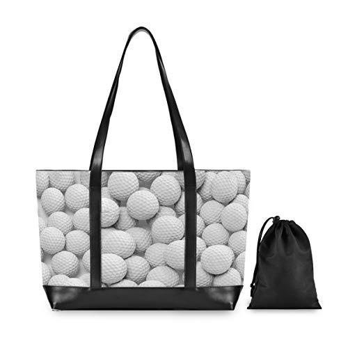ALARGE - Bolsa de deporte para ordenador portátil con impresión de pelota de golf para mujer, lona de piel de 15,6 pulgadas, para ordenador portátil, tableta, bolsa de hombro