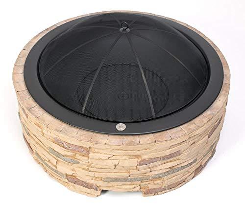 Westmann Feuerstelle inkl. Funkenschutzhaube 90x90x51 cm Steinoptik Outdoor Feuerschale Feuerkorb Garten Dekoration