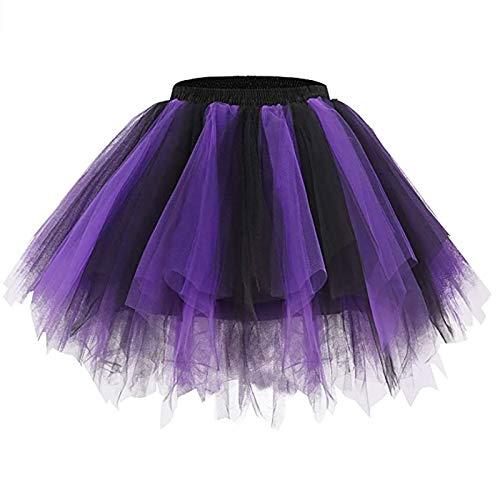 Falda de Mujer Falda de Tul 50S Ballet Corto de 3 Capas Princesa Tul Danza Accesorios de Vestuario de Baile Vestido de NiA Disfraz FotografA de Baile Despedida de La Noche, Falda de Rock