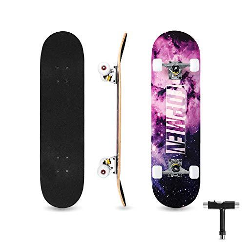 bigzzia Skateboard Komplett für Kinder Jugendliche & Erwachsene Anfänger, Double Kick Maple Deck Concave Cruiser Skateboard mit T-Tool, Geburtstagsgeschenk für Jungen & Mädchen (Fantasy Sky)
