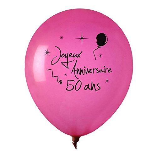 Chal - Ballon Joyeux Anniversaire Fuschia 50 Ans x 8