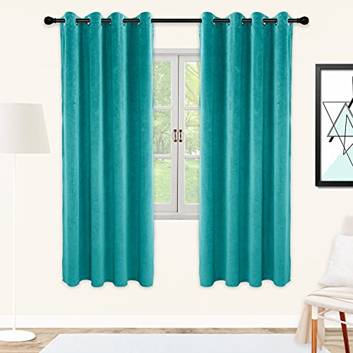 SNITIE Teal Blue Velvet Curtains with Grommet, Super Soft Thermal Insualted Noise Reducing Thick Light Filtering Velvet Curtain Drapes for Living Room and Bedroom, Set of 2 Panels, 52 x 72 Inch Long