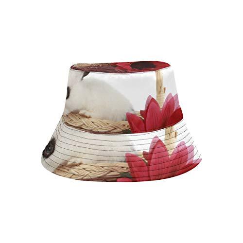 Moda Unisex Lindo Conejo Joven Cesta de Mimbre Aislado Sombrero de Cubo de Sol Gorro de Pescador Plegable de Verano para Hombres Mujeres