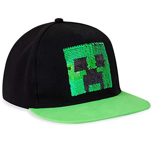 Minecraft Hut Für Kinder Cap Jungen | Mit Logo, Schwarz Und Pixelig Grün Grid | Zubehör, Das Den Besten Mutze Jungen Bietet | Ab 3 Jahren (Mehrfarbig)