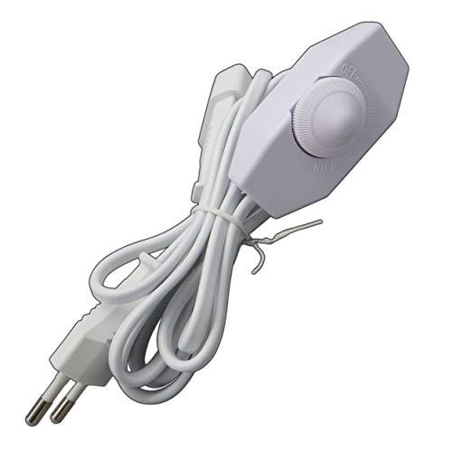 LED Dimmer (Schnur-Drehdimmer) 1-60 Watt stufenlos dimmbar/dimmen für dimmbare LED Leuchtmittel - Dimmschalter Schnur-Zwischendimmer Geräuschlos LED-Dimmer (weiß)