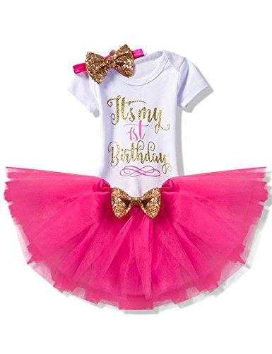 NNJXD Mädchen Neugeborene Es ist Mein 1. Geburtstag 3 Stück Outfits Strampler + Rock + Stirnband Größe (1) 1 Jahre Rose