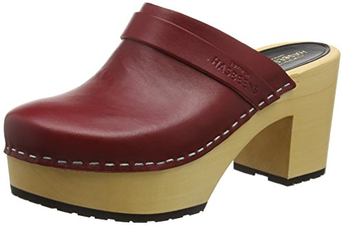 Swedish Hasbeens Damen Louise Clogs, Red (Burgundy) - 41 EU (8 UK)