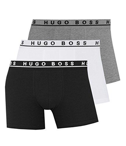 Hugo Boss Herren Boxershorts Unterhosen Boxer Brief 50325404 3er Pack, Farbe:Mehrfarbig;Wäschegröße:2XL;Artikel:-999 black/grey/white