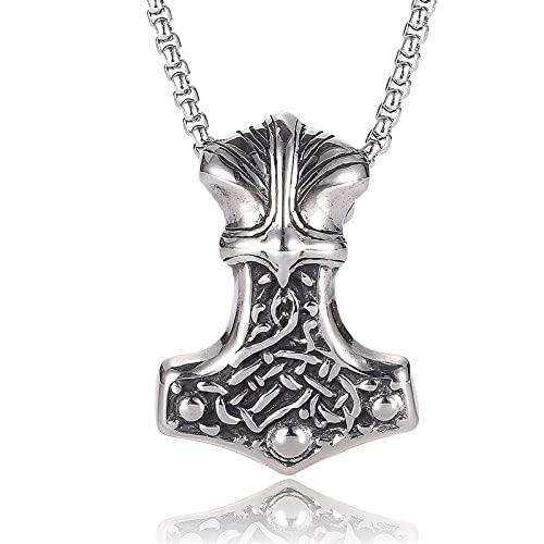 JOMYO Collar Vikingo, Collares Hombre, Hammer De Cabra Odin, Dios De La Destrucción, Martillo Por Thor, Colgante De Cabeza De Oso Animal, Lucha De Bronce Raptor Hacha, Collar De Acero De Titanio VIKIN