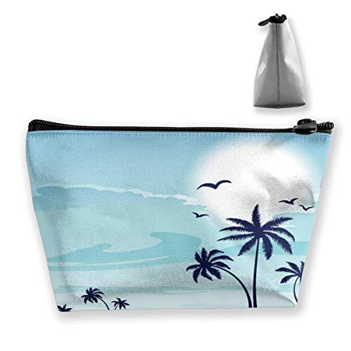 Sac de Voyage cosmétique Multifonction - Sea Beach Pattern Trapezoid Makeup Organizer Toiletry Wristlet Purse