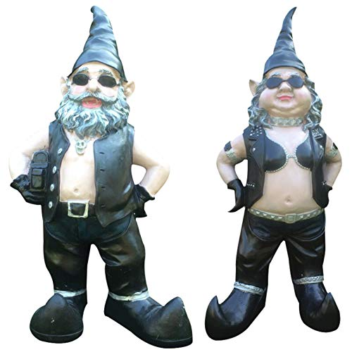 QKFON Garden Biker Gnome Gnomes Biker Dude Babe Motorcycle Gnome Couple Statues Resin Excellent Garden Ornament Yard Art Funny Lawn Statue Idea