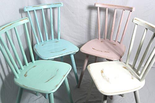 4x Shabby Stuhl alter Sprossenstuhl/Holzstuhl/Stuhl/Bauernstuhl/Küchenstuhl bunt 60er Jahre Landhaus Vintage Shabby Chic Möbel 4er Set