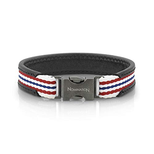 Nomination Large Black Leather Cruise Bracelet for Men with White Red White Blue Cotton