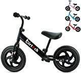 Balance Bike for 2,3,4,5,6 Year Old Boys and Girls No Pedal Toddler Bike Sport Training Bicycle for Kids with 12'' Wheels, Adjustable Handlebar and Seat, EVA tires, lightweight carbon steel (Black)
