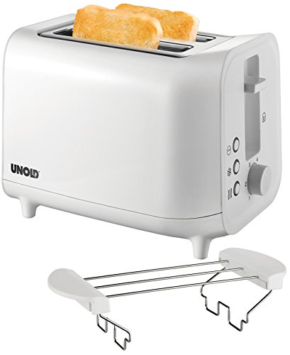 UNOLD 38411 Toaster Easy, 4 Funktionen, 6 einstellbare Röstgrade, 800W, weiß