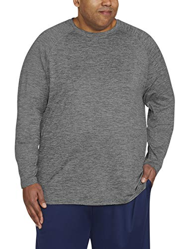 Amazon Essentials Men's Big & Tall Tech Stretch Long-Sleeve T-Shirt fit by DXL, Dk Gray Spacedye, 2X Tall