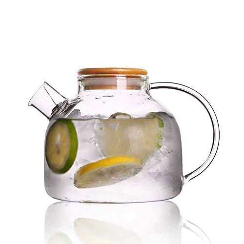 ZXL glas water karaf met bamboe deksel, 1000ml glas water Pitcher hittebestendige glas waterkruik fles voor water, melk, sap, ijsthee