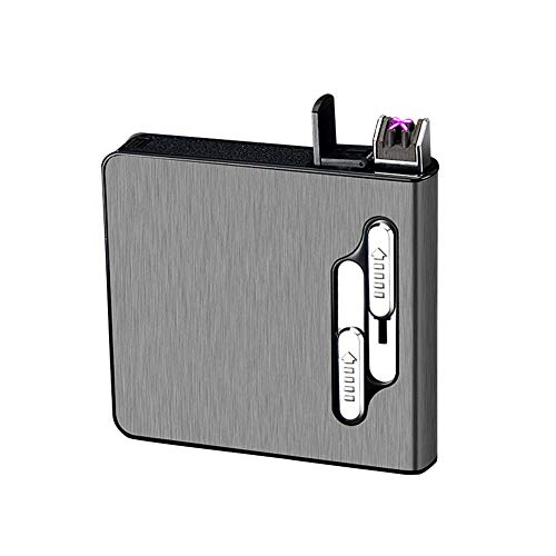 Full Pack 20 Regular Cigarettes Case Box Automatic Ejection Holder with Dual Arc Lighter USB Rechargeable, Flameless, Windproof,Moisture-Proof,Black