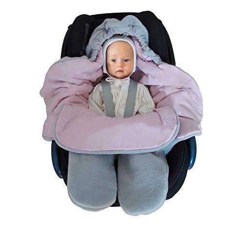 SWADDYL ® Fußsack Einschlagdecke Maxi cosi I Baby Wintersack I Babydecke für Babyschale, Kinderwagen - für Winter aus Fleece/Baumwolle (Rosa)
