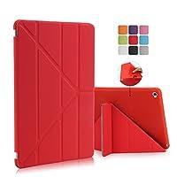 Asng iPad Air2 ケース PU レザー 素材 9.7 インチ アイパッド 変形 トライアングル 折りたたみ 開閉式 保護 カバー ケース スタンド オートスリープ 機能付き (iPad Air2, レッド)