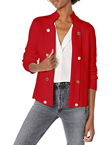 Calvin Klein Damen Open Sweater Jacket with Buttons Jacke, rot, X-Klein